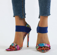 zapatos de tacón alto de color naranja al por mayor-Más el tamaño de 35 a 40 41 42 Banda elástica remiendo Phoenix diseño impreso tacones altos zapatos de color azul naranja de verano