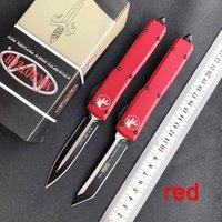 karpit bıçakları toptan satış-SICAK! Mikro teknoloji Oto bıçak UTX 85 çift eylem Taktik bıçak karbür sınıfı kırıcı Havacılık Alüminyum kolu cep bıçakları kırmızı