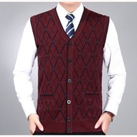 мужской свитер v шея вязать оптовых-New Men's  Wool Knit Vest V Neck Fashion Casual Basic Cardigan Sleeveless Sweater for Autumn Winter Tops K1803