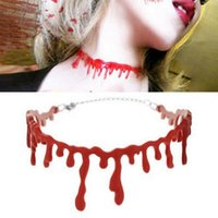 Wholesale vampire gothic choker resale online - Halloween Horror Blood Drip Necklace Bloodstain Vampire Gothic Choker Punk Cosplay Necklaces Party Decoration Jewelry Accessories