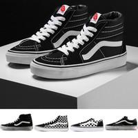 5e35ea2db Original Vans old skool sk8 hi mens para mujer zapatillas de lona negro  blanco rojo YACHT CLUB MARSHMALLOW moda skate zapatos casuales tamaño 36-44
