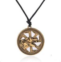 collier de totems de loup achat en gros de-Collier slavic personnalisé Bijoux Amulette Wolf Collier Totem Kolovrat Charme Vintage Amulettes