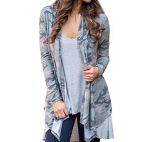 майка длинная оптовых-Womens Long Sleeve Camouflage Print Fashion Coat Bllouse Tank Tops women blouses long sleeve shirt cotton tunic women