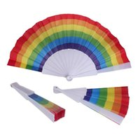 Wholesale hand hold fans resale online - Rainbow Fans Rainbow Folding Fans Colorful Hand Held Fan Summer Accessory For Wedding Party Decoration Party Favor LJJA3160