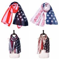 Wholesale orange red scarfs resale online - Striped American flag Cotton linen scarf Patriotic US American Flag Scarf Pashmina Stars Print Shawl Wrap cm cm