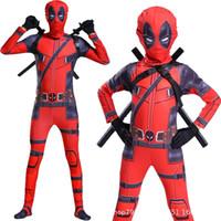 комбинезон в комбинезонном костюме оптовых-Бесплатная доставка малыш Дэдпул костюм с маской супергерой косплей костюм мальчик один кусок полный боди Хэллоуин детские костюмы для части