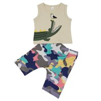 мальчики летние жилеты топы оптовых-New 2Pcs/Set Summer Children Baby Boys Casual Sleeveless Dinosaur Print Vest Tops+Camouflage Shorts Suits Costume Set