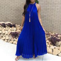 ingrosso halter blu lungamente vestiti da sera-Bianco Maxi Dress Women 2019 Sexy Off spalla partito Halter elegante sera d'estate allentato moda blu scuro abiti lunghi pieghettati