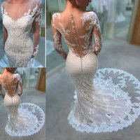 Wholesale blue silver wedding gowns for sale - Group buy 2019 Gorgeous Long Sleeves Mermaid Wedding Dresses Lace Appliques Covered Button Zipper Bridal Gowns Wedding Party Dresses