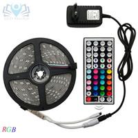 led diyod smd toptan satış-HaoXin LED Şerit Işık RGB 5050 SMD 2835 Esnek Şerit fita led ışık şeridi RGB 5 M 10 M 15 M Bant Diyot DC 12 V + Uzaktan Kumanda + Adaptörü