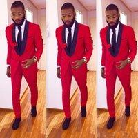 rote satin tuxedo jacke großhandel-High One Button Red Bräutigam Smoking Groomsmen Schal Revers Best Man Blazer Mens Hochzeit Anzüge (Jacke + Hose)