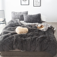 Wholesale brown blue bedding sets king for sale - Group buy 46 Pure Color Mink Velvet Bedding Sets colors lambs wool Fleece Flat Sheet Duvet Cover Fitted Sheet Queen King size
