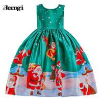 schöne kleider für weihnachten großhandel-Großhandelsneues schönes Druck-Kleid für Mädchen-Kinder Vestidos Kleinkind-Baby-Sankt-Prinzessin Dress Christmas Outfits
