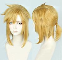 hohe mode kurze perücken großhandel-Die Legende von Zelda Link Short Golden Yellow Cosplay Pferdeschwanz WigFree Versand Neue hochwertige Mode Bild Perücke