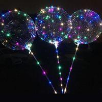 ballons pole großhandel-Bobo Ballon LED Blinkend mit 70 cm Pol 3 Mt String Ballon Transparent Leucht Ballons Für Geburtstag Hochzeit Home Party Decor