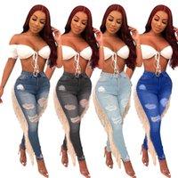 buraco voador venda por atacado-2019 Mulheres Verão Outono Buraco Rasgado Jeans de Cintura Alta Casual Zipper Lápis Voar Jeans Borla Side Splicing Denim Pant Moda Calças 3XL