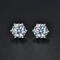 jolis ongles blancs argentés achat en gros de-BOEYCJR 925 Argent 0,5 / D 1ct couleur Moissanite VVS Beaux bijoux de diamant Stud avec certificat national pour les femmes cadeau