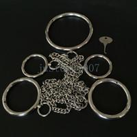 knöchel-handgelenk-schäkel großhandel-Glossy Metal Collar-Wrist-Ankle Fesseln Edelstahl Slave Shackle Cuffs AU65