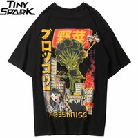japanische hüften groihandel-2019 männer Hip Hop T-shirt Japanische Harajuku Cartoon Monster T-Shirt Streetwear Sommer Tops Tees Baumwolle T-shirt Übergroßen HipHop