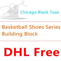série mini brinquedos de bloco venda por atacado-Balay mini bloco de construção de basquete sapatos série chicago preto toe fivela quebrado relâmpago aj sneakers miniatura de diamantes blocos de puzzle brinquedo