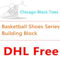 Wholesale BALODY Mini Building Block Basketball Shoes Series Chicago Black Toe Buckle Broken Lightning AJ Sneakers Miniature Diamond Blocks Puzzle Toy
