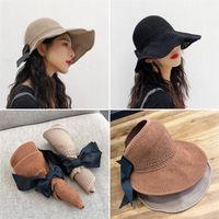 geniş şapkalı golf şapkaları kadınlar toptan satış-Şapka Moda Kadınlar Yaz Güneş Şapka Büyük Papyon Ile Katlanır geniş Ağız Şapka Taşıması Kolay Kapak Yüz Seyahat Visor Kad ...
