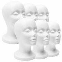 manken takımı yeni toptan satış-Yeni Pratik Beyaz Köpük Kadın Manken Başkanı Saç Peruk Gözlük Kap Ekran Tutucu Standı Modeli Manken Şapka Standı Strafor