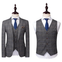 ternos de tweed azul venda por atacado-2020 do cinza dos homens ternos de tweed de lã Verifique Suits Regular Fit noivo smoking Custom Made manta casamento smoking vestido formal