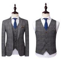 ingrosso lana tuxedos dello sposo del cappello-2020 Grey abiti uomo in tweed di lana Controlla Suits Regular Fit smoking dello sposo su ordine Tartan nozze smoking vestito convenzionale