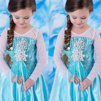 cosplay das meninas cosplay venda por atacado-Halloween Party bebê Meninas Princess Dress lantejoulas diamante Cosplay Desempenho Ice Queen vestido Stage Crianças roupas de grife 06