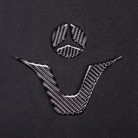 углеродное волокно для рулевого колеса оптовых-Автомобиль для укладки углеродного волокна интерьер стикер AMG значок рулевого колеса эмблема наклейка наклейка для Mercedes C Class W204 W205 W211 W203 GLA