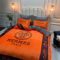 portakal rengi fleece toptan satış-Turuncu At Yatak Setleri Şerit Tasarımcı Sonbahar Ve Kış Polar Yatak Örtüsü Takım 4 ADET Baskı Kalınlaşmak Nevresim Setleri