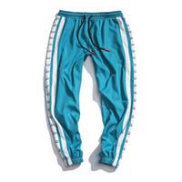 calças folgadas de dança venda por atacado-Homens calças moletom harém pants folgas casual dance patchwork cordão hip hop baggy y1308