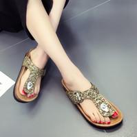 ingrosso scarpe da stampa rosa di leopardo-Vendita calda Retro Leopard Print Flats Sandali Scarpe da spiaggia Thick-Soled Cork Slippers sandali mujer planas casua