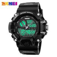 часы двойные цифровые часы оптовых-SKMEI Марка Открытый Спортивные Часы Мужчины 50 м Водонепроницаемый Цифровой Кварц Dual Time Спортивные Часы Восхождение Плавать Часы Мужчины