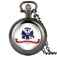 Wholesale pocket watch necklace alice wonderland resale online - Clock United States Army Fobs Mens Pocket Watch Pattern Pocket Watch Arabic Digital Alice in Wonderland Necklace