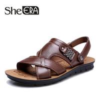 коричневые кожаные сандалии оптовых- Men Leather Men Sandals Black Brown Sewing Beach Shoes Cool Summer Shoes Breathable Mens Leather Sandals size 38-48