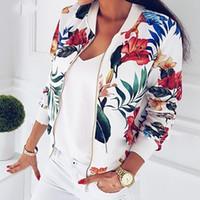 ingrosso giacca femminile a manica corta-2020 nuova delle donne stampa floreale Primavera Autunno chiusura lampo del rivestimento manica lunga della breve Biker Giacche Fiore modello femminile più il formato S-5XL