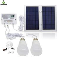 kits de iluminación solar al por mayor-Sistema de energía solar para el hogar Sistema de energía Sistema de iluminación LED solar de 5000 mah para iluminación y carga en todas partes con un cable USB de 2 bombillas