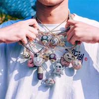 herren seil halsketten großhandel-Emoji Designer Anhänger Halskette Mode Herren Hip Hop Halskette Schmuck Iced Out Anhänger Halsketten Mit Goldseil Kette