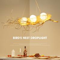luz colgante pájaros al por mayor-Iluminación moderna de la lámpara para el comedor de la jerarquía del pájaro de oro Lámparas colgantes del lustre de cristal Colgantes del techo