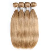 Wholesale human hair weave honey brown online - Honey Blonde Human Hair Weave Bundles Brazilian Virgin Straight Hair Bundles Inch Remy Human Hair Extensions