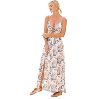3948de1387 Women Boho Tunic Dress Sexy Floral Print Spaghetti Strap Summer Dress Criss  Cross Lacing Up Backless Beach Loose Dress White