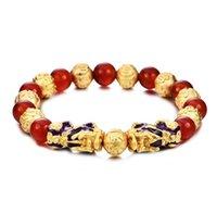 mascote jóias venda por atacado-Imitação de Ouro Feng Shui Dupla Pixiu Pulseira Natural Ágata Vermelha Frisado Pulseira Mascote Animal Jóias