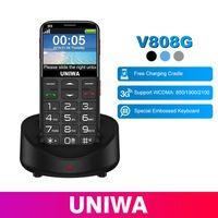 großer telefon tv großhandel-UNIWA V808G Handy mit Tastatur 3G WCDMA Telefon Starke Fackel Älteres Mobiltelefon Ältere Menschen Großes SOS-Tastentelefon Alter Mann