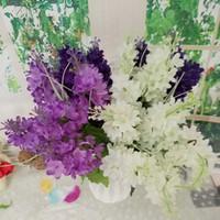 lavanta çiçek bahçeleri toptan satış-Yapay Sahte lavanta Sümbül Ipek Çiçek Düğün Gelin Buketi Ev Dekorasyonu Yapay Çiçek Bahçe Dekor KKA7095