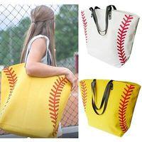 fußballhandtaschen großhandel-Leinwand Tasche gedruckt Basketball Baseball Fußball Einkaufstasche Sport Umhängetasche mit Hasps Schließung Softball Handtasche 15 Farben ZZA672
