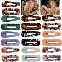 tasarımcı saç kayışları toptan satış-Akrilik Mermer Tipi Saç Klip Kızlar Geometrik Şekilli BB Saç Retro Barrette Tasarımcı Kadın Retro Firkete Aksesuarları HHA769 Klip