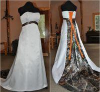 vestido de corsé naranja al por mayor-Vestido de novia satinado sin tirantes con ideas de camuflaje Corsé sin mangas Camo Vestido de novia con corbata naranja