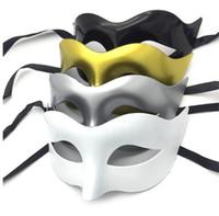 maskeli süslemeler toptan satış-Masquerade parti maskeleri Kostüm Venedik Masquerade Maske Villain Göz Maskesi Parti Dekorasyon Siyah beyaz gümüş altın